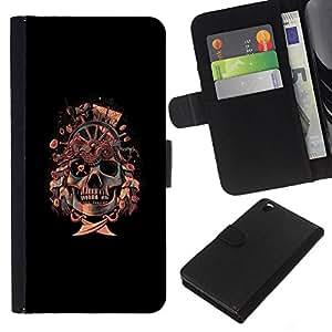 KLONGSHOP // Tirón de la caja Cartera de cuero con ranuras para tarjetas - Bandera pirata del cráneo de - HTC DESIRE 816 //