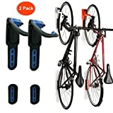 Reliancer 2 Pack Foldable Vertical Bike Rack Wall Mounted Bicycle Cycle Storage Rack Single Bike Hook Wall Bike Hanger Holder w/Tire Tray for Garage Shed Retail Applications Road Bike