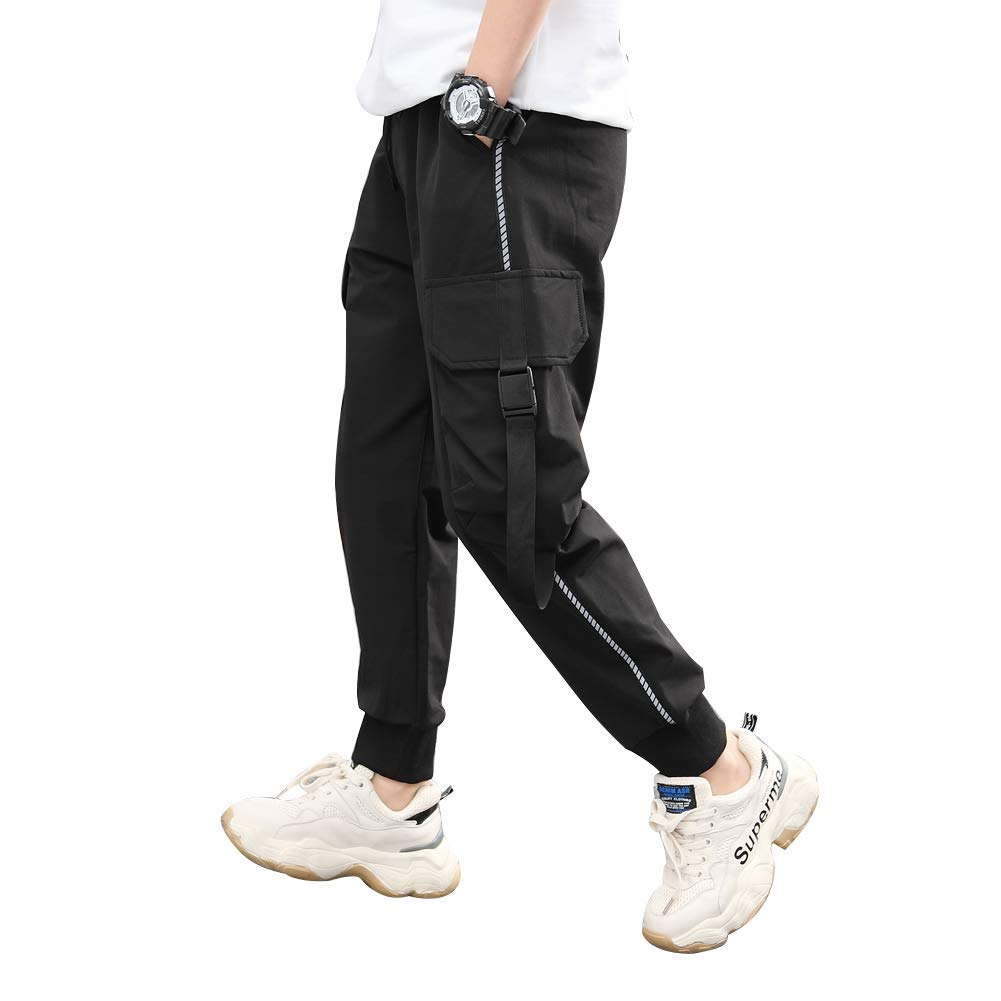 childdkivy Kids Big Boys Casual Cargo Pants Active Outwear Bottoms Black 140 952 by childdkivy