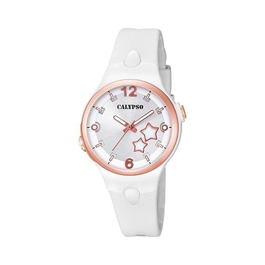 Reloj Calypso Mujer k5745/1 al cuarzo (batería) policarbonato quandrante plateado correa goma: Amazon.es: Relojes