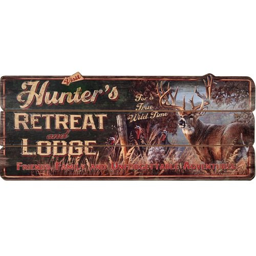 [Rivers Edge Products Hunter's Retreat Lodge Sign] (Hunter Wood Sign)
