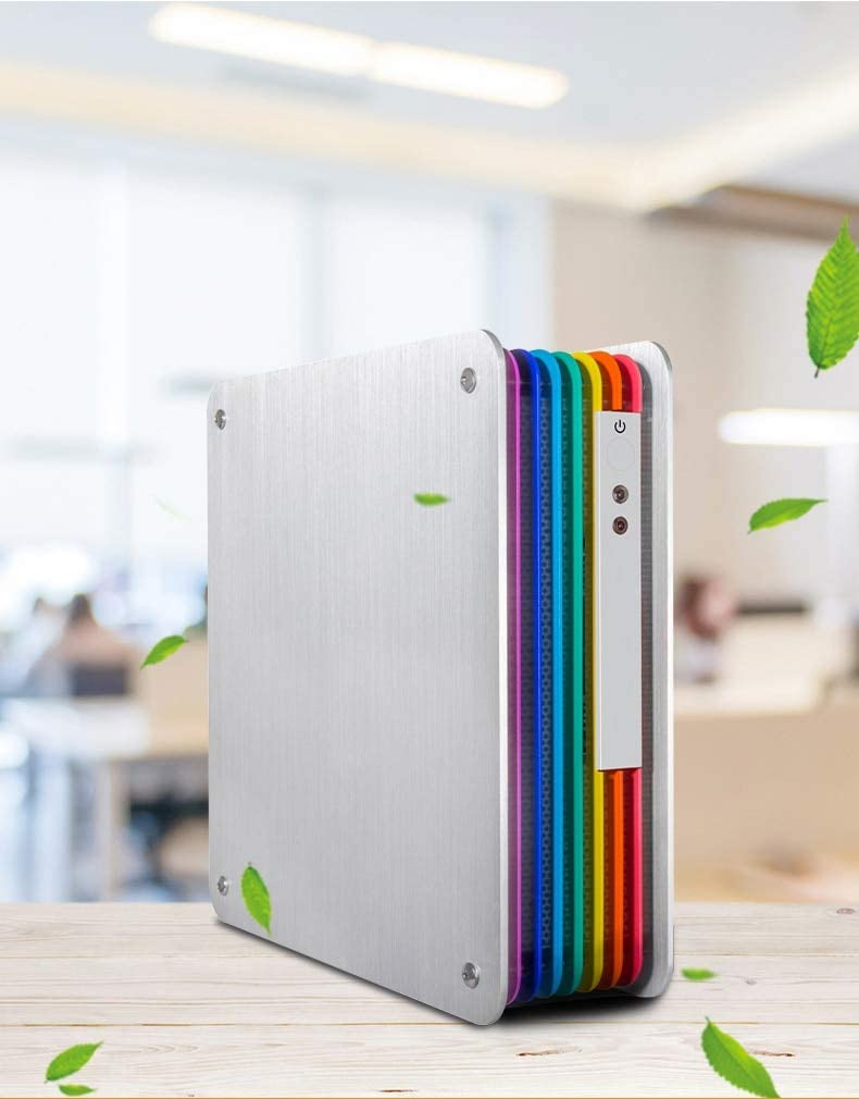 Mini ITX Computer Case Horizontal Computer Chassise Test Bench HTPC Aluminium Easy Carry Rainbow Color