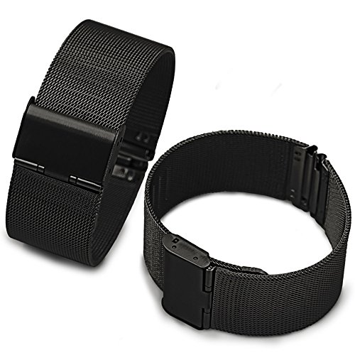 Ca High Silicone Wire (ChezAbbey Black Milanese Mesh Stainless Steel Watch Band Replacement Watch Strap Adjustable Buckle 18mm)