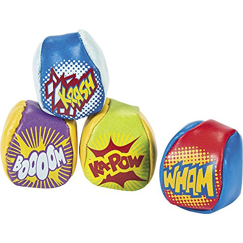 Fun Express Vinyl Action-Packed Superhero Kick Balls - 12 Pieces (Superhero Party Games compare prices)