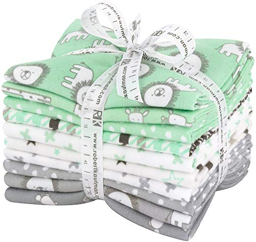 Flannel Fabric Hearts - Penned Pals Flannel Fat Quarter Bundle 10 Precut Cotton Fabric Quilting FQs Assortment Mint Colorstory by Ann Kelle for Robert Kaufman