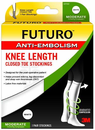 FUTURO Anti-Embolism Stockings, Knee Length, Closed Toe, X-Large Regular, White