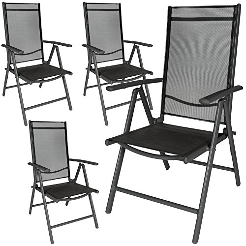 TecTake Aluminium folding garden chairs set adjustable with armrests - different colours and quantities - (Anthracite | 4 chairs | no. 401634)