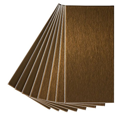 (Aspect Peel and Stick Backsplash 3in x 6in Brushed Bronze Long Grain Metal Tile for Kitchen and Bathrooms)