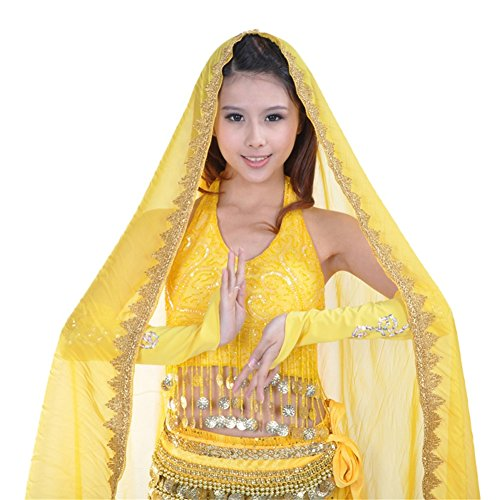 ESHOO Women Girls Chiffon Belly Dance Head Shawl Scarf Lady Dance Costume Headpiece (Indian Dance Costumes And Accessories)