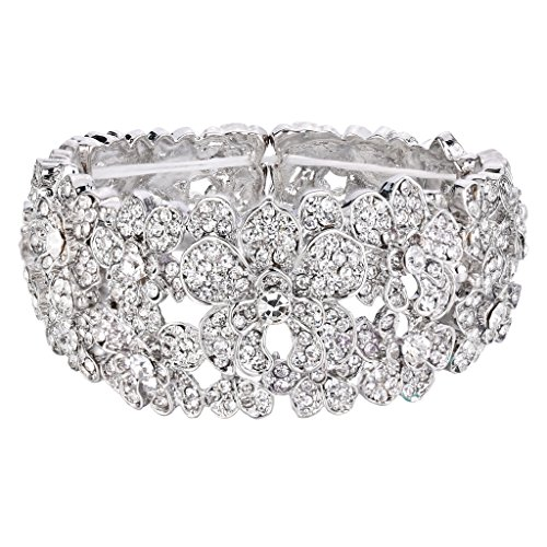 Antique Victorian Silver Bangle - BriLove Women's Bohemian Boho Crystal Flower Hollow Cluster Beaded Stretch Bangle Bracelet Clear Silver-Tone