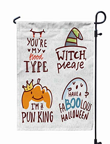 GROOTEY Mini Garden Flags,Home Yard Decorative 12X18 Inches Pun Halloween Cute Doodles Lettering Word Play Words Drawn Art Greeting Card Decoration Poster Double Sided Seasonal Garden -