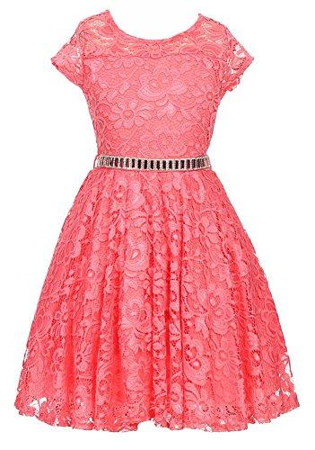 iGirlDress Big Girls Floral Lace Flower Girls Dresses Coral 12