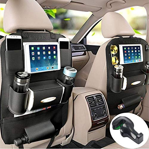 - Fincy Palmoo Pu Leather Car Seat Back Organizer and iPad Mini Holder, Universal Use as Car Backseat Organizer for Kids, Storage Bottles, Tissue Box, Toys (Black - 1 Pack)