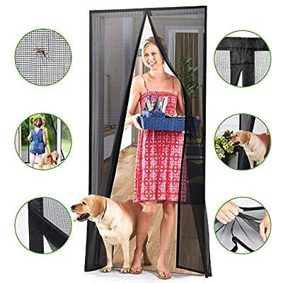 Homitt [Upgraded Version] Magnetic Screen Door with Durable Fiberglass Mesh Curtain and Full Frame Hook & Loop