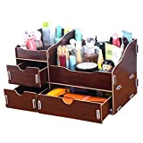 dolly2u Fashion Wooden Make-up Storage Box Cosmetic Display Organizer Walnut Brown