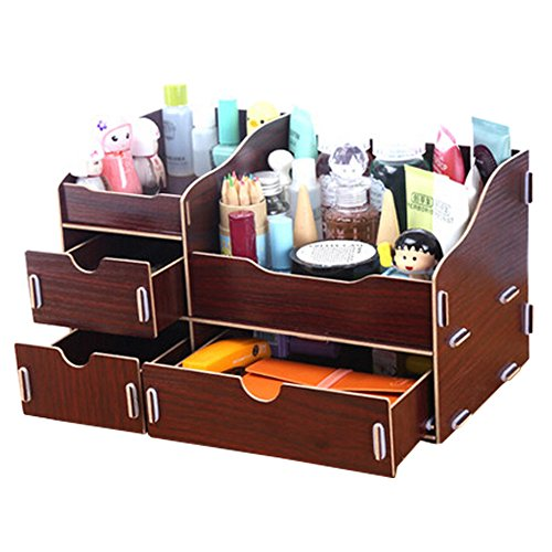 dolly2u Fashion Wooden Make-up Storage Box Cosmetic Display Organizer Walnut Brown by dolly2u