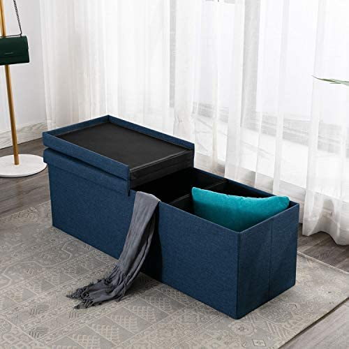 EBELLO Storage Ottoman Bench, Padded Chest with Flipping Lid Folding Seat Footrest Blue Blue