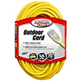 Coleman Cable 02588 12/3 50-Foot Vinyl Outdoor Extension Cord with Lighted End