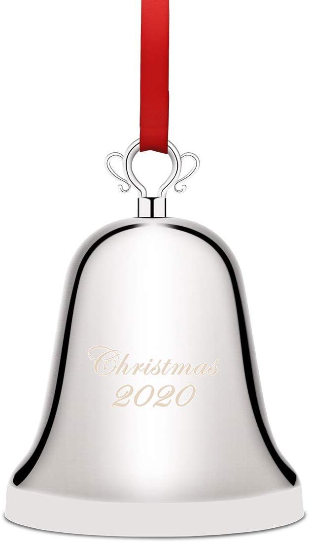 Coitak - Campana de Navidad anual 2020 para campanas de aniversario de Navidad con caja de regalo y cinta roja (2020, plateada)