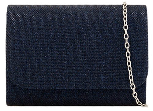 Girly HandBags Navy Effect Shimmer Girly Clutch HandBags Bag TnRvFzqx