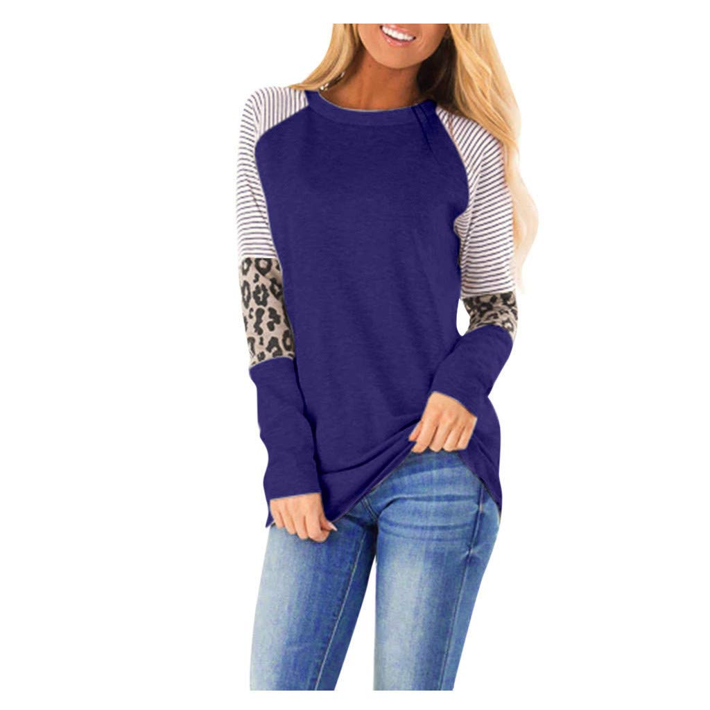 QIUUE 2020 Women Casual Leopard Striped Top Sweatshirt Plush Long Sleeve Splice Tunic T Shirt Comfy Pullovers Blue by QIUUE