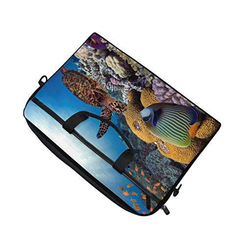 Briefcase Bag 15 Laptop Shoulder Sea Fits inch Reef Bennigiry Bag 4 Messenger Turtle Fish 15 Canvas Colorful Coral wqnPx174