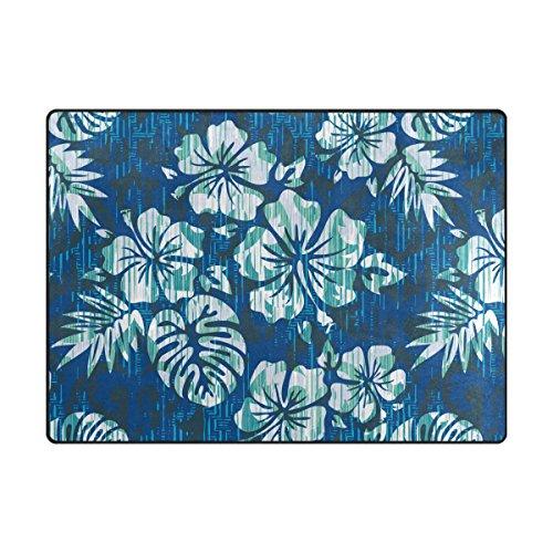 ABLINK Non-slip Area Rugs Home Decor, Vintage Blue Tropical Hawaiian Flowers Durable Floor Mat Living Room Bedroom Carpets Doormats 80 x 58 inches (Durable Tropical Rug)
