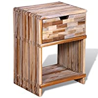 Festnight Side End Table Reclaimed Teak Wood Nightstand Bedside Cabinet with Storage Drawer and Shelf for Home Office Living Room