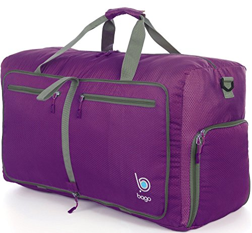 Sports Duffle Bag for Gym Gear or travel - with shoes pocket - 23'' (Medium, Purple)