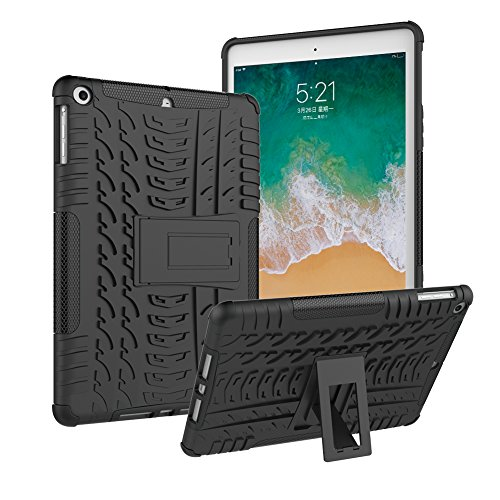 iPad 9.7 Case 2018 6th Generation and 2017 5th Generation/ iPad Air 1 Case, Roiskin Anti-slip Shockproof Excellent Impact Resistance Dual Layer Heavy Duty Protective Case Cover with Kickstand-Black