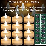 Micandle 12Pack LED Timer Tea Lights with Extra 12 CR2032 Battery,6 Hours on and 18 Hours Off in 24 Hours Cycle,LED+PP,No fire Hazards or Burning Risks,Mini Flickering Flameless Timer Candle