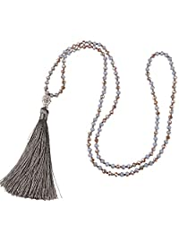 KELITCH Crystal Bead Long Chain Strand Necklace with Buddha Head Tassel Pendant