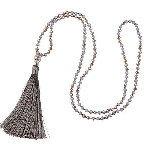 KELITCH Tassel Pendant Necklace Hand Knotted Beads Buddhist Prayer Necklace for Yoga Meditation