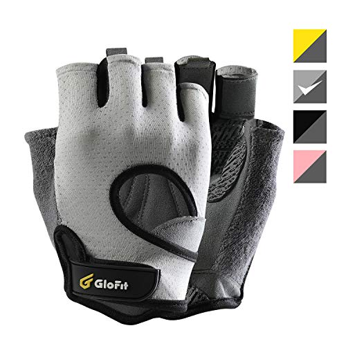 - Glofit FREEDOM Workout Gloves, Knuckle Weight Lifting Shorty Fingerless Gloves with Curved Open Back, for Powerlifting, Gym, CrossFit, Women and Men(Grey, Medium)