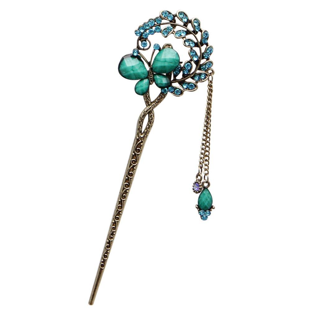 Tangc Various Fashion Women Elegant Bobby Pin Colorful Hairpin Rhinestone Hair Stick