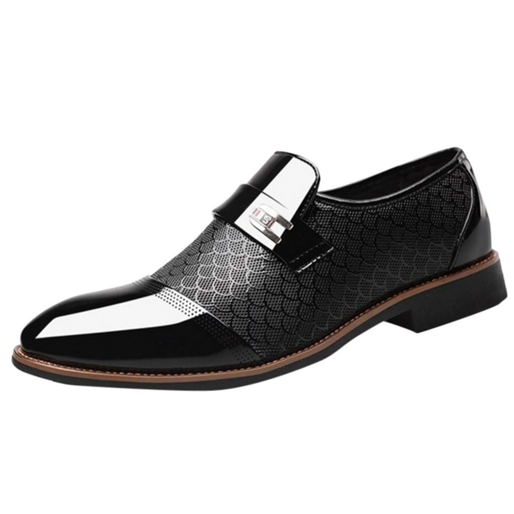 Corriee Mens Leather Oxford Shoes Male Pointed Toe Suit Shoes Flats Men's Business Shoes Dress Shoes for Wedding Black