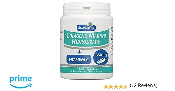 Colágeno Marino Hidrolizado y Vitamina C - 350mg por cápsula - 200 cápsulas: Amazon.es: Salud y cuidado personal