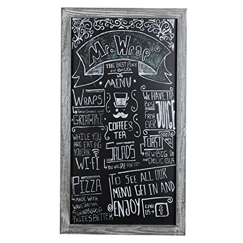 MyGift Rustic 35-Inch Wall Hanging Chalkboard Sign with Distressed Gray Wood Frame (Wall Hanging Sign)