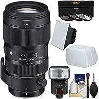 Sigma 50-100mm f/1.8 Art DC HSM Zoom Lens with 3 Filters + Flash + Diffuser + Soft Box + Kit for Nikon Digital SLR Cameras