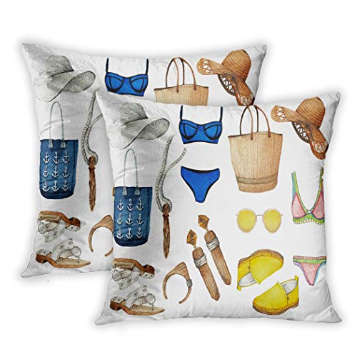 Lichtion Set of 2 Throw Pillow Covers Print Fashi Trendy Best Summer Hat Loafers Swimsuit Sunglasses Sandals Earrings Pendant Decorative Soft Bedroom Sofa Pillowcase Cushion Couch 16 x 16 Inch