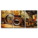 wall26-3 Piece Canvas Wall Art - Vintage Grunge Still Life. Vintage Items on Ancient Map. - Modern Home Decor Stretched and Framed Ready to Hang - 16''x24''x3 Panels