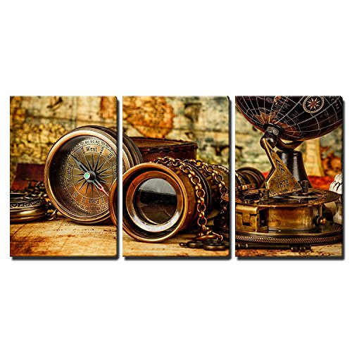 wall26-3 Piece Canvas Wall Art - Vintage Grunge Still Life. Vintage Items on Ancient Map. - Modern Home Decor Stretched and Framed Ready to Hang - 16''x24''x3 Panels by wall26
