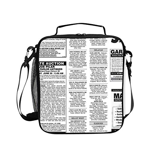 Reusable White Newsprint Lunch Bags Insulated Lunch Boxs Stylish Soft Lunch Tote for Travel/Work/Outdoors
