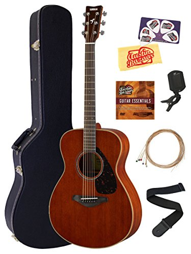 Yamaha FS850 Solid Top Small Body Acoustic Guitar Bundle with Hard Case, (Mahogany Top)