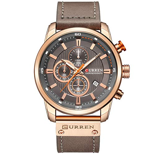 Mens Watches Military Chronograph Large Face Designer Dress Waterproof Sport Wrist Watch Business Analogue Leather Watches for Men – Coffee