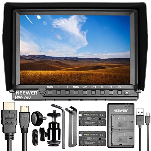 Neewer NW-760 Field Monitor Ultra-thin 7 inches IPS Screen 1080P Full HD 1920x1200 Support 4k Input HDMI with 2 Pieces Sony NP-F550/570/530 Replacement Batteries and USB Dual Battery Charger (Piece 4 24/7 Freeze)