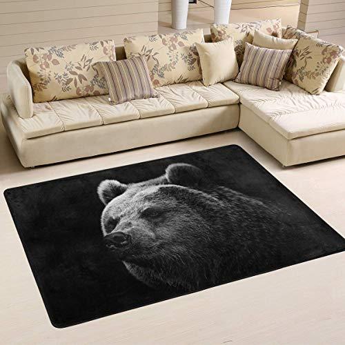 (Libaoge Moderns Area Rugs Mats Decor Bear Black Soft Carpet Mat 96321 for Bedroom Living Dining Dorm Room Home Decorative Nursery Floor Kids Play Mat)