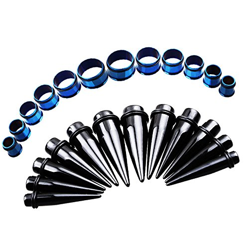 20 Mm Set - TOPBRIGHT 24PCS UV Acrylic Tapers and Surgical Steel Plugs Ear Gauges Kit Eyelets Stretching Set 00G-20mm