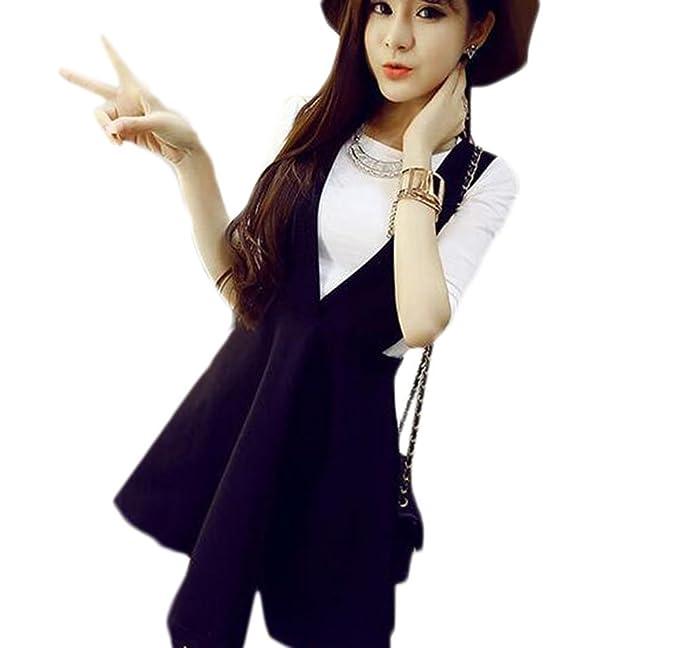 34b4d157f kiwitwo disfraces de verano nueva versión coreana de las mujeres dos piezas  vestido de correa V múltiple en algodón blanco small: Amazon.es: Ropa y ...
