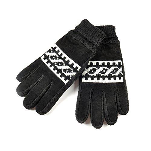 SIEFERSN Suede Gloves Winter Warm Driving Leather Gloves for Men's 1134245030 (Large, Black) Pigskin Utility Gloves
